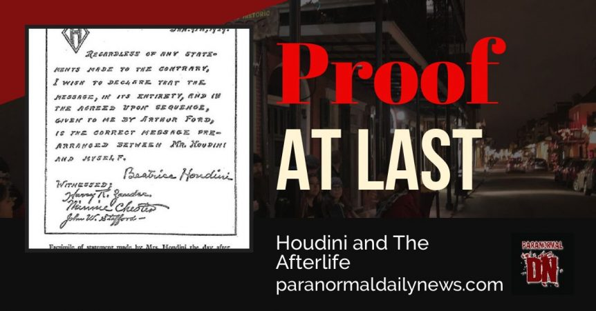 Harry Houdini and the afterlife, proof at last?